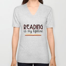 Reading is my lifeline Unisex V-Neck