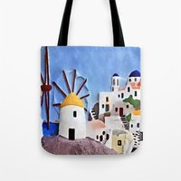 greek Tote Bags featuring Greek island by Brian Raggatt