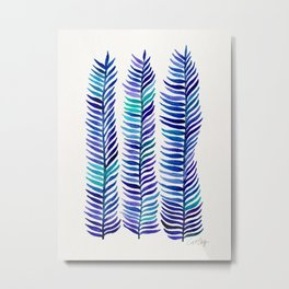Indigo Seaweed Metal Print