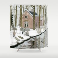toddler Shower Curtains featuring Children Building A Snowman by Yuliya