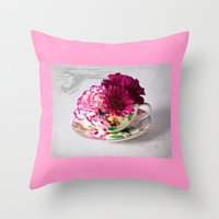 shabby chic Throw Pillows featuring Shabby chic floral by inkedsandra