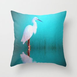 Egret in teal Throw Pillow