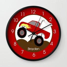 Monster Truck Red Wall Clock