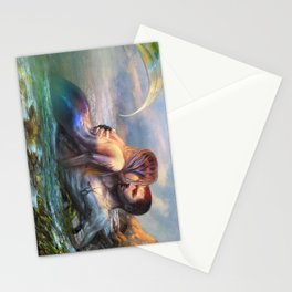 Take my breath away - Mermaid in love with soldier on the beach Stationery Cards