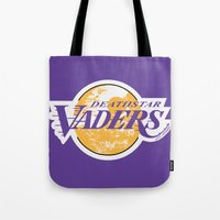 lakers Tote Bags featuring L.A. Vaders by Ant Atomic