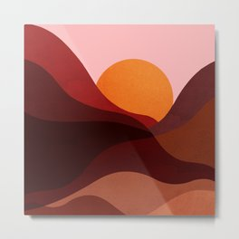 Abstraction_Mountains_SUNSET_Minimalism Metal Print