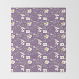 Joyful Folk Floral : Purple Throw Blanket