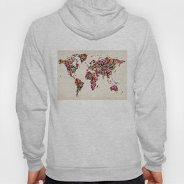 Butterflies Map of the World Map Hoody