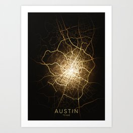 austin tesxas city night light map Art Print