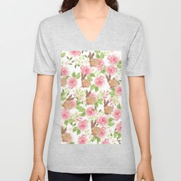 Pink brown watercolor roses floral bunny rabbit Unisex V-Neck