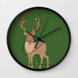 Rudolph Red Nosed Reindeer happy with his Favorite Christmas Lights Wall Clock
