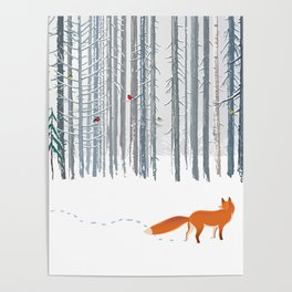 Fox in the white snow winter forest illustration Poster