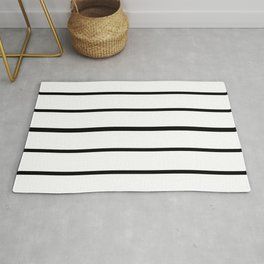 Simple Black and White Lines Decor Rug