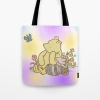 pooh Tote Bags featuring Classic Pooh by kltj11