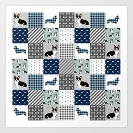 Tricolored Corgi Patchwork - classic buffalo plaid, plaid, dog dad, dog lover, dog design, cute dogs Art Print