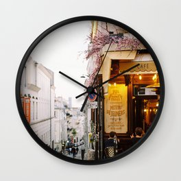 Dreamy Street in Montmartre, Paris with Parisian Cafe Wall Clock