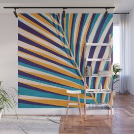 Gold and Navy Abstract Palm Frond Wall Mural