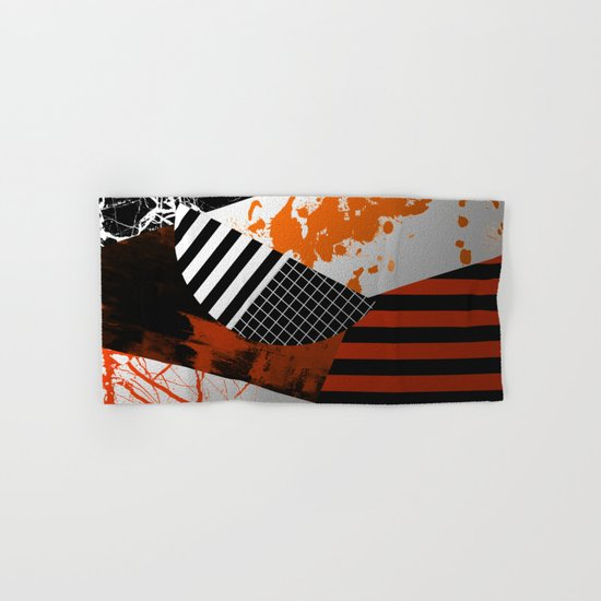 Metallic Pieces - Rustic, Abstract, metallic, textured black, white and gold artwork Hand & Bath Towel