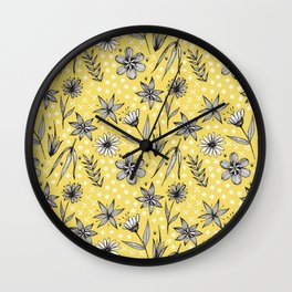 black and white floral on yellow Wall Clock