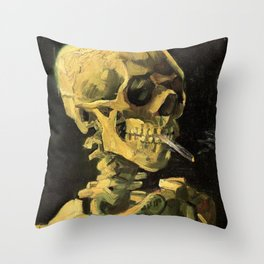 SKULL OF A SKELETON WITH A BURNING CIGARETTE Throw Pillow