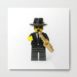 Jazz playing musician Minifig Metal Print