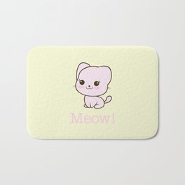 Pastel Kitten Kawaii Bath Mat