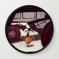chicken Wall Clocks featuring Chicken by Javio
