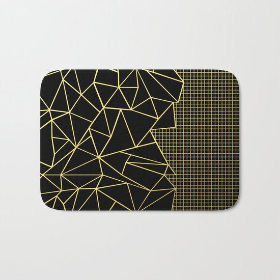Ab Outline Grid Black and Gold Bath Mat