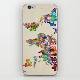 Typography Text Map of the World iPhone Skin