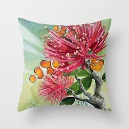 Clownfish & Ohia Throw Pillow