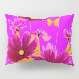 DECORATIVE YELLOW BUTTERFLIES & FUCHSIA PURPLE SPRING FLOWERS GARDEN ART Pillow Sham