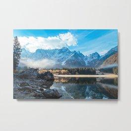 autumn sunrise at the alpine lake Metal Print