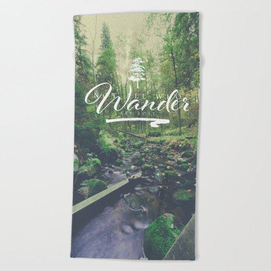 Mountain of solitude - text version Beach Towel