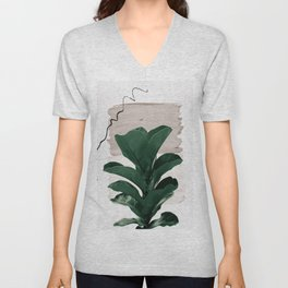Fiddle Leaf Abstract - Naturelle #1 #minimal #wall #decor #art #society6 Unisex V-Neck