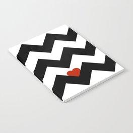 Heart & Chevron - Black/Classic Red Notebook
