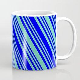 Aquamarine and Blue Colored Lines/Stripes Pattern Coffee Mug