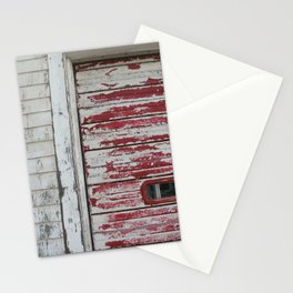 Garage door red old paint Stationery Cards