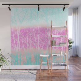 Winter Branches in Ice Cream Colors Wall Mural