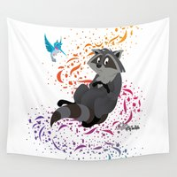 pocahontas Wall Tapestries featuring Meeko - Pocahontas - Colors of the Wind by Teo Hoble