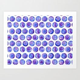 blue watercolor big dots Art Print