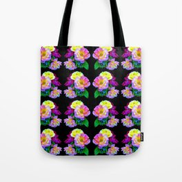 Rosa Yellow Roses on Black Pattern Tote Bag