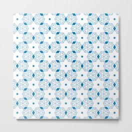 Shibori Stars (blue and white) Metal Print