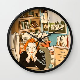 Dana Scully sit to the Fox Mulder's office Wall Clock