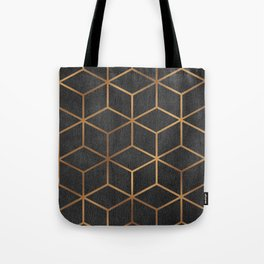 Charcoal and Gold - Geometric Textured Cube Design I Tote Bag