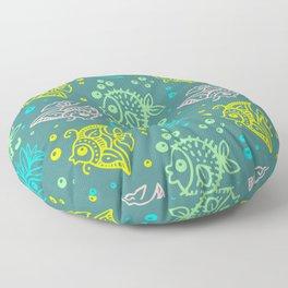 Fishes Batik Style Seamless Pattern Floor Pillow