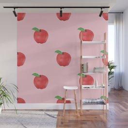 Pretty Pink Apples Fruits Summer Design Wall Mural