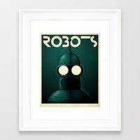 bender Framed Art Prints featuring Robots - Bender by Greg Guillemin