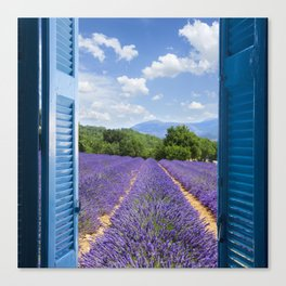 wooden shutters, lavender field Canvas Print