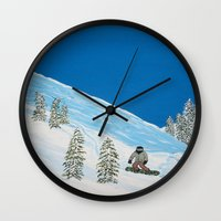 snowboarding Wall Clocks featuring Snowboarding by N_T_STEELART