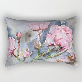 Spring Pink Roses and a Dark Sky Rectangular Pillow